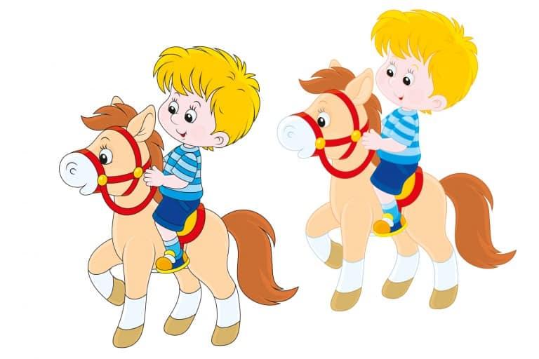 kleurplaat paard ingekleurd