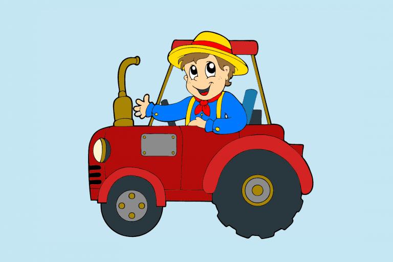 Voorbeeld kleurplaat boer op een traktor op de boerderij