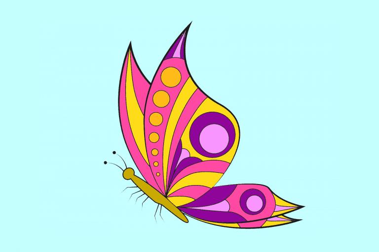 Voorbeeld kleurplaat vlinders