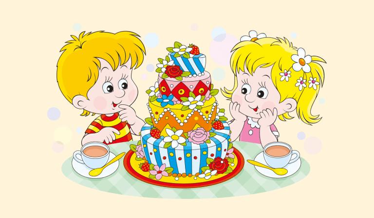 Voorbeeld kleurplaat taart