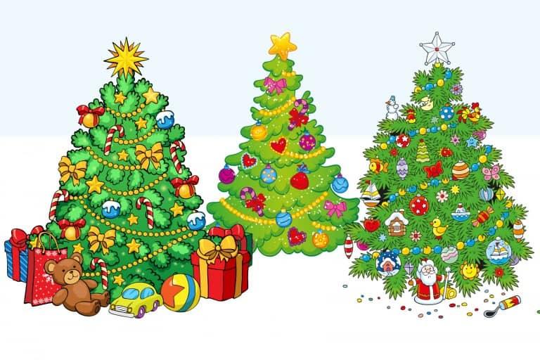 Kleurplaat kerstbomen voorbeeld