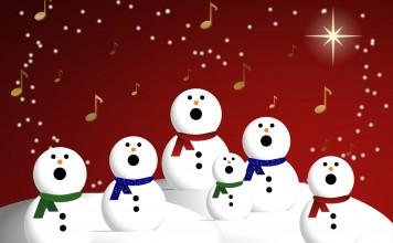 Zingende sneeuwpoppen met kerst