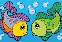 Kleurplaat vissen voorbeeld