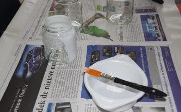 Glazen potje met gesso wit schilderen