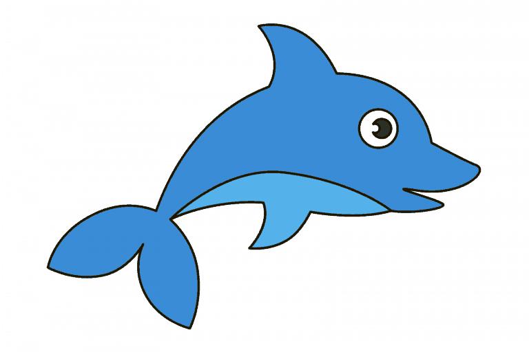 dolfijn tekenen (ingekleurd)