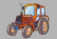 kleurplaat tractor voorbeeld