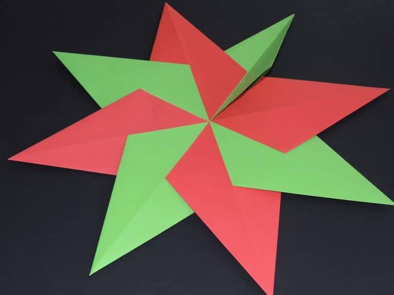 Stap 2a: dubbele kerstster maken van papier
