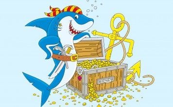 Kleurplaat haai voorbeeld ingekleurd