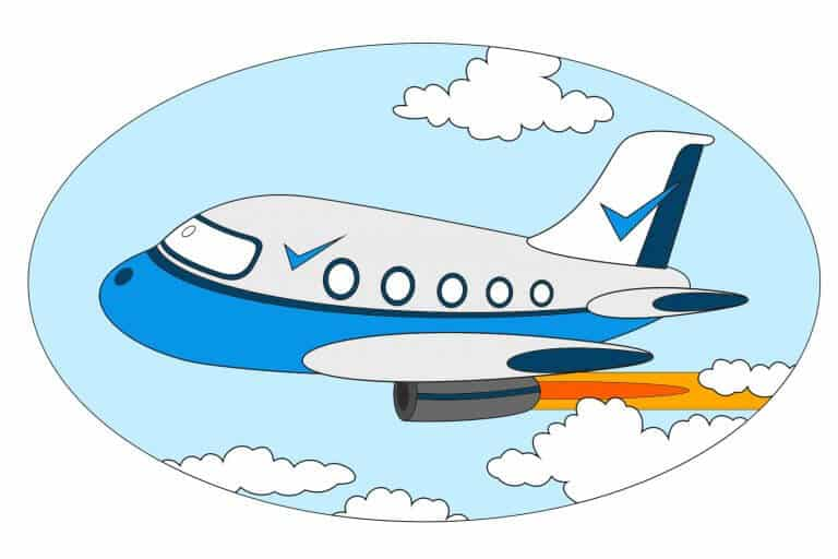 Kleurplaat vliegtuig ingekleurd voorbeeld