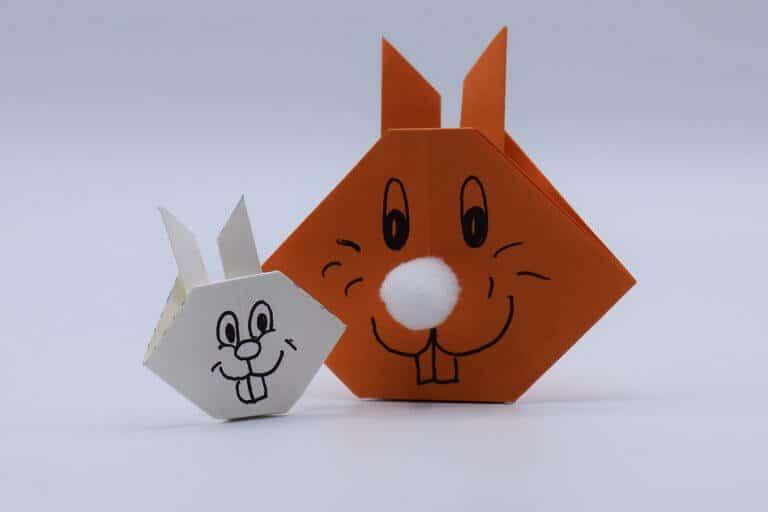 Paashaas vouwen van papier eindresultaat