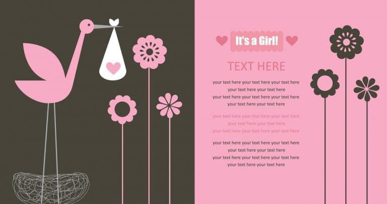 Geboortekaart meisje - tekst nog schrijven