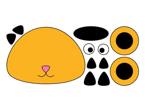 Onderdelen geel zwarte kattenkop
