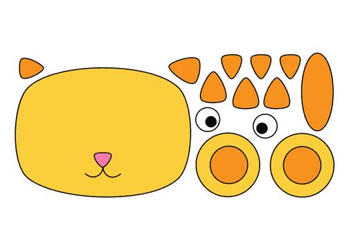 Onderdelen hoofd kat geel