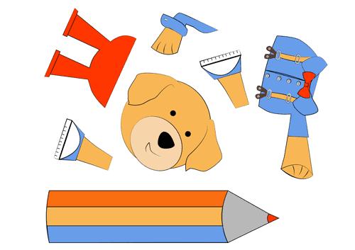 Onderdelen hondje met potlood