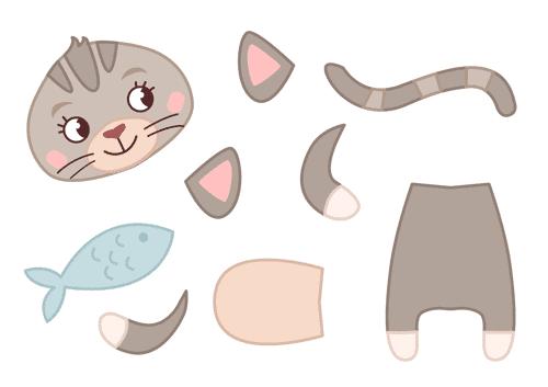 Onderdelen kat met vis