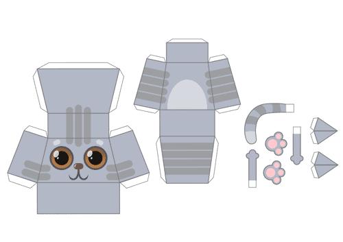 Onderdelen grijze 3D kat