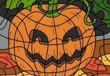 Kleuren op nummer herfst voorbeeld