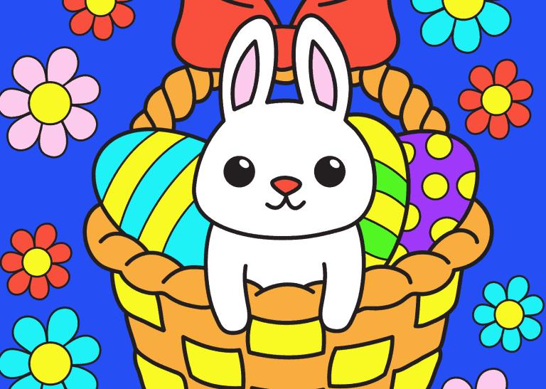Kleuren op nummer Pasen voorbeeld