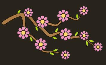 Bloesemtak tekenen (ingekleurd)