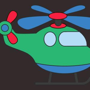 Helikopter tekenen (ingekleurd)
