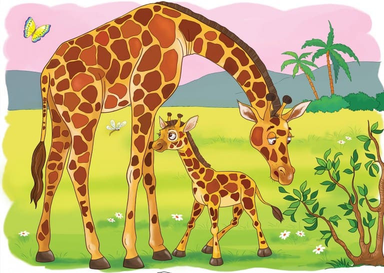 Kleurplaat giraffe (voorbeeld)