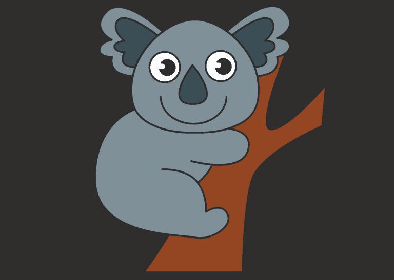 Koala tekenen ingekleurd