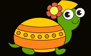 Schildpad tekenen ingekleurd