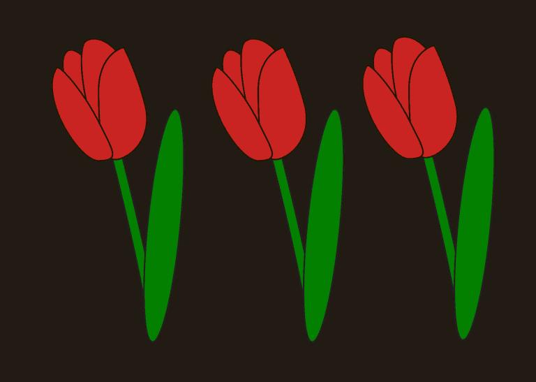 Tulpen tekenen ingekleurd