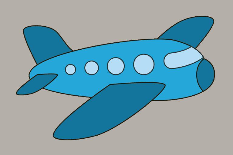 Vliegtuig tekenen (ingekleurd)