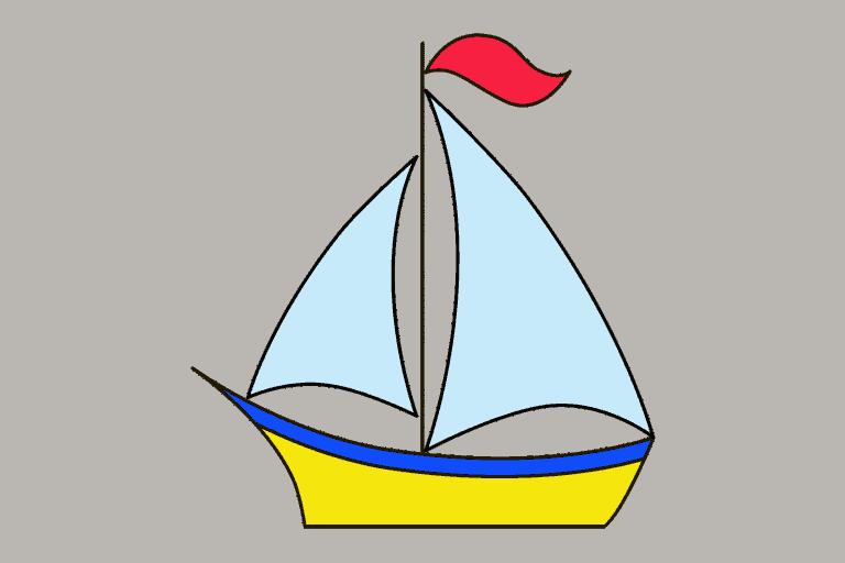 Zeilboot tekenen (ingekleurd)